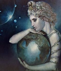 ✯GAIA ✯ - Mother Earth - This primordial Greek Goddess personifies nature and the earth. She was born before time. A child of Chaos, Gaia gave birth to the god Uranus to be her companion, the sky, the sea, as well as the mighty mountains. She became the mother of the great one-eyed giants known as Cyclopes, the hundred armed ones known as Hekatoncheires, and eventually gave birth to the mighty Titans