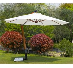 360 Degree Wooden Hanging Offset Patio Umbrella w/ Marble Base Shade Cream Offset Patio Umbrella, White Umbrella, Shade Screen, Teak Wood, Canopy, Bamboo, Home And Family, Marble