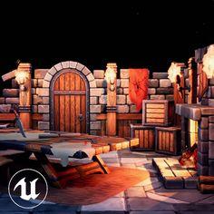 Stylized Castle room environment on UE4, Artem Glazov on ArtStation at https://www.artstation.com/artwork/8dOxx