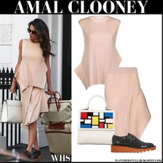 Amal wore light powder pink knit asymmetrical top and matching asymmetrical skirt from Stella McCartney, white lego Les Petits Joueurs bag and black Stella McCartney loafers