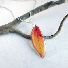 Pressed Leaf Resin Statement Necklace - Autumn fall jewelry, bright red yellow- specimen necklace Nature lover gift
