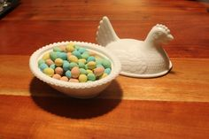 Hobnail Milk Glass Candy DishCovered Candy by ClockworkRummage, $20.00  @Lacee Brown  it's a hen on a nest!!