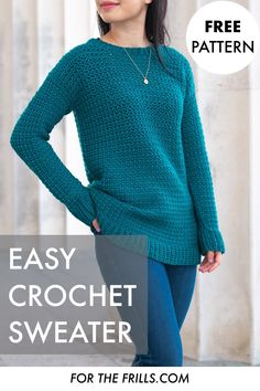Looking for an easy crochet sweater pattern? The Weekend Snuggle Sweater is cosy, comfy and stylish. Loose, long and slouchy, this pullover project for any season! Free pattern and crochet sweater inspiration with step-by-step video tutorial. Pull Crochet, Mode Crochet, Knit Crochet, Cardigan Au Crochet, Crochet Sweaters, Crochet Cardigan Pattern Free Women, Crochet Toddler Sweater, Easy Crochet Shrug, Crochet Jumpers