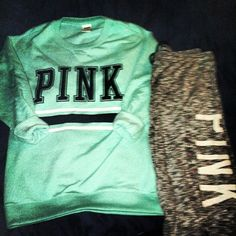 <3 Mint Pink sweater, cheetah sweatpants Pink Pink Outfits, Cute Outfits, Cute Pajamas, Pink Nation, Pink Things, Perfect Wardrobe, Everything Pink, Pink Sweater, Vs Pink
