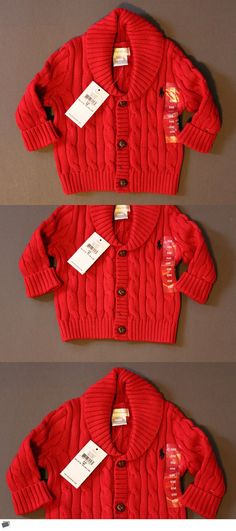Baby Boys Clothing And Accessories: Ralph Lauren Polo Baby Cardigan Sweater Cable Shawl 3M 6M 24M Nwt Genuine BUY IT NOW ONLY: $47.99