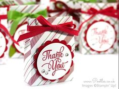 """One Big Meaning, Merry Moments DSP, 2"""" Circle & 2-3/8"""" Scallop Circle punches, 1/4"""" Real Red Cotton Ribbon, Rhinestones - Cute Treat Bags for Jumbo Tea Lights"""