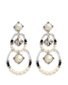 Miriam Haskell | Silver Crystal Pearl Circle Drop Earrings | Lyst