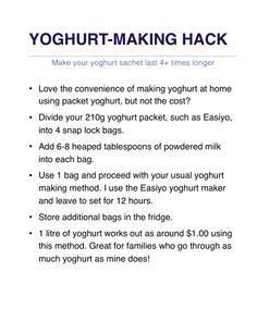 Make your Easiyo yoghurt packets last times longer. Yogurt Recipes, Milk Recipes, Cheese Recipes, Veggie Recipes, Baby Food Recipes, Sweet Recipes, Cooking Recipes, How To Make Cheese, Food To Make