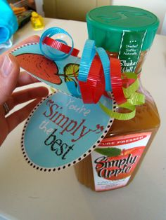 "This person created a whole basket of gifts around the ""apple"" theme. The apple theme is OUT for teacher gifts-- so are large bottles of beverages that teachers/adults generally don't drink. My kids won't even drink the freshly pressed ""pulpy"" version of apple juice."