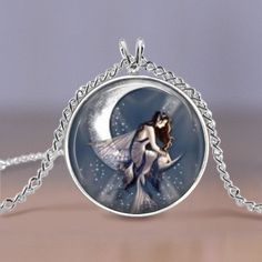 Jewelry  Necklace  Celestial Moon  Fairy  20 by MaDGreenCreations, $7.49