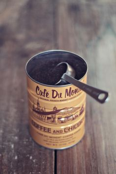 Cafe Du Monde Coffee and Chicory:   a rich blend of dark roasted coffee and chicory.