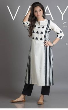 Kurti n plazo Salwar Designs, Kurta Designs Women, Blouse Designs, Pakistani Dresses, Indian Dresses, Indian Outfits, Khadi Kurta, Churidar, Ethnic Fashion