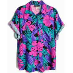 Vintage 80s Tropical Party Shirt Pink Purple Jungle Top women's medium ($34) ❤ liked on Polyvore featuring tops, night out shirts, 80s tops, purple shirt, night out tops and going out tops