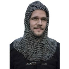 Zink Finish 8 MM Mild Steel Butted Chainmail Coif Round Neck Medieval Mail Armor Head Hood