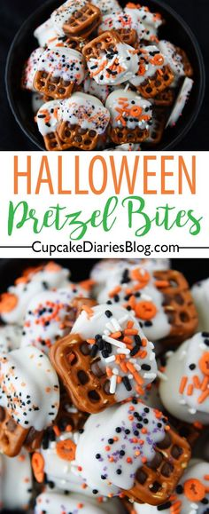 Pretzel Bites Halloween Caramel Pretzel Bites - Salt, sweet, and chewy little treats that are easy to make and a perfect Halloween treat for neighbors.Salting Salting or Salted may refer to: Halloween Snacks, Hallowen Food, Fall Snacks, Holiday Snacks, Fete Halloween, Halloween Goodies, Fall Treats, Vintage Halloween, Halloween Recipe