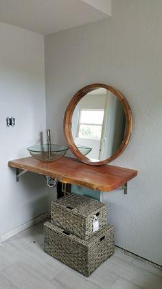 My bathroom is finally coming together #woodvanity #walnut #vanity #wood