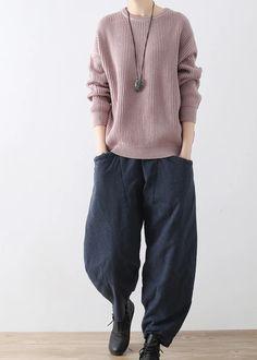 2017 autumn winter gray cotton pants plus size elastic waist crop pants Cuffed Pants, Cropped Pants, Casual Pants, Cotton Pants, Linen Pants, Straight Leg Pants, Wide Leg Pants, Balloon Pants, Cozy Fashion