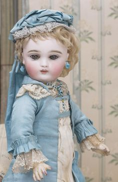 """14 1/2"""" (37 cm) Extremely Rare Antique French Bisque Bebe Doll by Joanny with Delicate Shy Expression and all original costume, c.1880"""