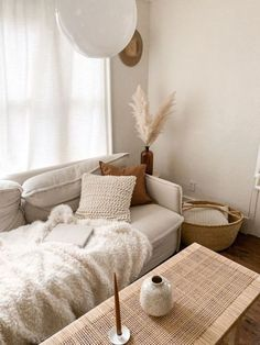 neutral colours in the living room. Pampass grass