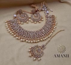 AMANI Crystal Collection: contemporary Jewellery sets - New Ideas Indian Bridal Jewelry Sets, Indian Jewelry Earrings, Fancy Jewellery, Wedding Jewelry Sets, Stylish Jewelry, Choker Necklaces, Earrings For Wedding, Bridal Necklace Set, Silver Jewellery