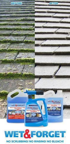 Clean up roof moss with your feet firmly planted on the ground! The new Wet & Forget Hose End product can reach up to 30 feet high. Simply spray Wet & Forget, and let Mother Nature do the work for you! Roof Cleaning, Deep Cleaning Tips, Toilet Cleaning, House Cleaning Tips, Cleaning Solutions, Spring Cleaning, Cleaning Hacks, Diy Hacks, Cleaning Painted Walls