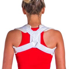 Women's Posture Improvement & Collarbone Pain Brace-- This figure-eight posture brace for women is a comfortable solution for posture improvement and treating a broken or fractured clavicle injuries. It has padded straps that loop around your shoulder to hold the upper body in proper alignment, without uncomfortable rubbing against the chest. | BraceAbility