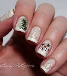 Christmas in a snowglobe nail art design! snowman christmas tree winter holiday nails  |  Sassy Shelly.