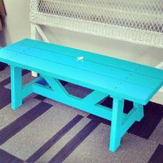 Reclaimed Wood Turquoise Bench - Built by Alex at Good Wood in Grantville, GA. Like us on Facebook: https://www.facebook.com/GrantvilleGoodWood