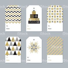 Collection of New Year and Christmas gift tags - Illustration royalty-free stock vector art