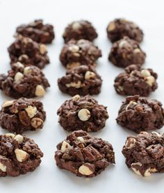 Gooey dark chocolate cookies loaded to the max with three kinds of chocolate, pecans, and golden raisins. Every bite packs a chocolate surprise!