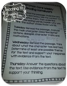 Common Core Aligned Weekly Reading Reviews...blog post with examples and details