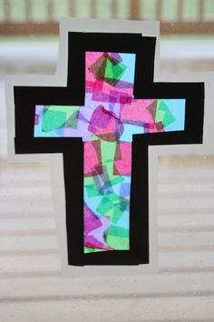 Kara's Creative Place: Stained Glass Tissue Paper Cross (Craft for Reformation Day) Sunday School Projects, Sunday School Activities, Church Activities, Sunday School Lessons, Learning Activities, Easter Games For Kids, Easter Crafts For Toddlers, Toddler Crafts, Bible School Crafts