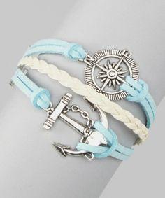 Light Blue Compass Cord Bracelet
