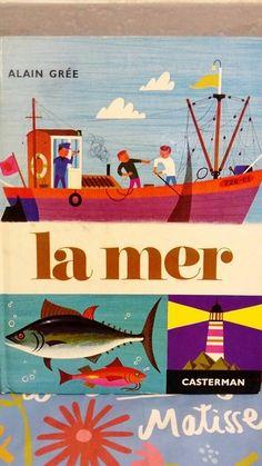 Old book french.  Vintage. hey, j'ai trouvé ce super article sur Etsy, chez https://www.etsy.com/fr/listing/474214846/livre-vintage-enfant-casterman-la-mer