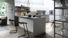 Contemporary kitchen / oak / melamine / glass - FORMA MENTIS - VALCUCINE