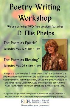 Join us this Saturday to explore your poetic journey! Give us a call tomorrow if you would like to attend!
