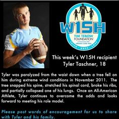 This week's Tebow Foundation W15H recipient Tyler (October 12, 2012)