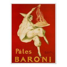 love this poster - Pates Baroni by Cappiello Vintage Italian Pasta Kitchen Advertisements Posters Art Prints Vintage Food Posters, Vintage Italian Posters, Pub Vintage, Vintage Advertising Posters, Vintage Art Prints, Vintage Advertisements, French Vintage, Vintage Signs, Vintage Style