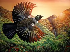 The Observer by NZ artist, Irina Velman. A Tui flies high above the Pohutukawa and native forest. Artprints available from www.imagevault.co.nz