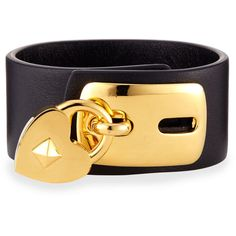 Valentino Leather Padlock Cuff Bracelet ($675) ❤ liked on Polyvore featuring jewelry, bracelets, gold, leather cuff bracelet, leather charm, bracelet charms, cuff bracelet and heart bracelet