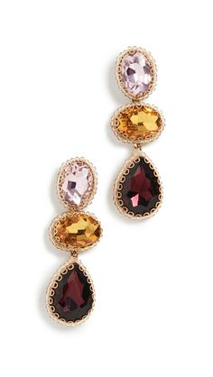 Deepa Gurnani Hadlee Earrings In Baby Pink/gold/purple Deepa Gurnani, India Fashion, Soft Fabrics, Pink And Gold, Vintage Inspired, Gemstone Rings, Crystals, Earrings, Baby