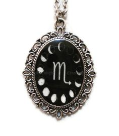 Moon Phases Necklace Scorpio Necklace Moon by inspiredbythemoon