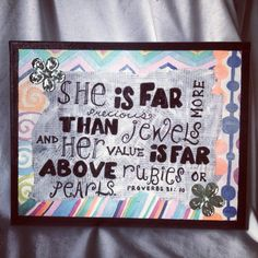 Jewels Proverbs Quote Wall Art. Now available at: www.etsy.com/shop/withloveknc   Direct Link: www.etsy.com/listing/116799195/jewels-proverbs-quote-wall-art