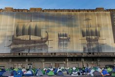 A tent city of migrants at the port of Piraeus in Athens, Greece.