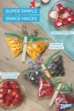 Adorable after school snacks that don't take hours to make. Whip up butterfly snack bags (with clothes pins and pipe cleaners), chocolate chip raspberries, and radish toadstools in minutes. Use Ziploc® snack bags to keep everything fresh, or pack into lunch boxes for a fun surprise.