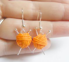 Knitting Needles and Wool Miniature Multi Colors Drop Earrings- Miniature Food Jewelry Mothers Day