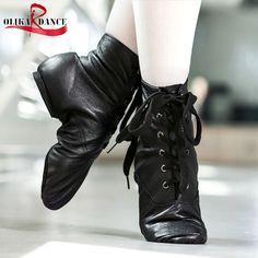 Genuine leather soft sole balck Jazz practice women dance shoes split sole men jazz boots high upper jazz dancing boots shoes