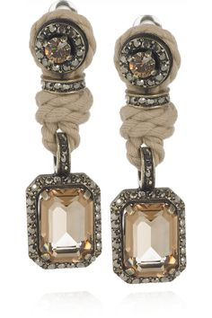 Lanvin Swarovski Crystal Clip Earrings ~ I like the contrast of the rope with the crystals.