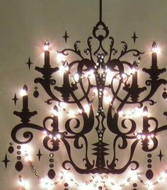 Canvas and LED lighting, she has directions here too....Meijo's Joy: A perfect chandelier for my WALL!