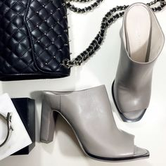 """LAST CHANCE Gray Leather Mules Details: • Size 8.5 • Gray leather • 4"""" heel • Brand new in box   03031607 Kenneth Cole Shoes Mules & Clogs"""